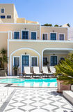 Luxury villa in Greece. Luxury hotel with swimming pool royalty free stock image