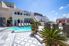 Luxury villa in Greece. Luxury hotel with swimming pool stock image