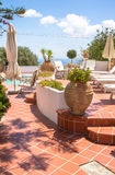 Luxury villa in Greece. Luxury hotel with swimming pool royalty free stock images