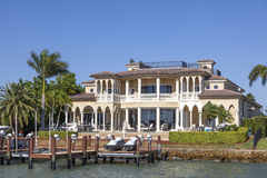 Luxury villa in Naples, Florida. Naples, Fl, USA - March 18, 2017: Luxury waterfront villa in the city of Naples. Florida, United States Royalty Free Stock Photos