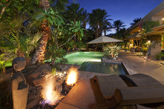 Luxury Villa at night time Royalty Free Stock Images