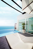 Luxury villa with ocean view. Shot of swimming pool at luxury villa with ocean view Stock Photography