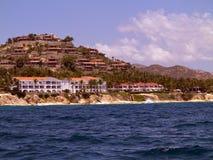 Luxury villa overlooking the sea. Beachfront Luxury villas and condos  embedded in the rocks Stock Photos