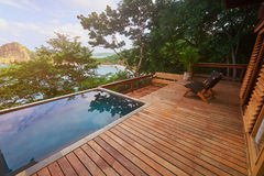 Luxury villa patio. From wood. Luxury hotel theme stock image