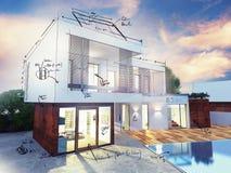 Luxury villa plan. Project of a luxury villa under construction stock image