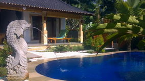 Luxury villa with pool outdoor stock video footage