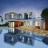 Luxury villa project. Project of a luxury villa in 3d Stock Photography