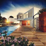 Luxury villa project. 3D rendering. Exterior view of a modern villa with pool. 3D rendering stock illustration