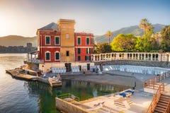 Luxury villa on the sea at sunset on the Italian Riviera Italy Stock Photos