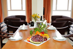 Luxury villa served with champagne and fruits Royalty Free Stock Image