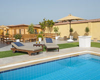 Luxury villa swimming pool Royalty Free Stock Photography