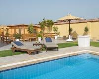 Luxury villa swimming pool royalty free stock photography