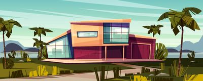 Luxury villa on tropical coast cartoon vector royalty free illustration