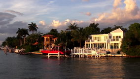Luxury villa with yacht in Miami Florida USA cityscapes stock video footage