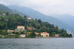 Luxury villas along the bank of Lake Como Stock Photography