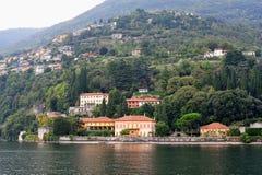 Luxury villas along the bank of Lake Como Stock Photos
