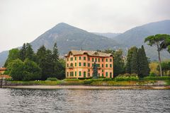 Luxury villas along the bank of Lake Como Royalty Free Stock Image