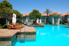 Luxury villas and swimming pool at luxury hotel. Antalya, Turkey Stock Image