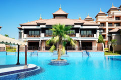 The luxury villas in Thai style hotel on Palm Jumeirah Royalty Free Stock Photos