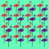 Luxury design Flamingos colorful on eco green Stock Photos