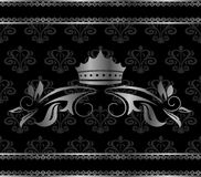 Luxury vintage aluminum frame template with crown Royalty Free Stock Images