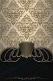 Luxury vintage background with old-fashioned patterns. Vintage background with decorative border,shield and old-fashioned patterns Royalty Free Stock Image