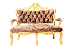 Luxury vintage Brown  couch isolated on Stock Photography