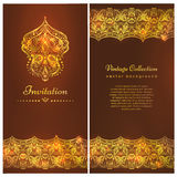 A luxury vintage  card. Invitation with beautiful golden ornaments ,damask frame, border. Gold royal template Stock Images