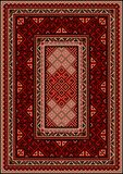 Vintage carpet with ethnic ornament in red and beige shades Stock Photos