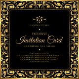 Luxury invitation card - decorative black and gold vector design royalty free stock photography