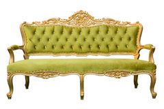 Luxury vintage green couch isolated Stock Photography