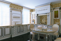 Luxury vintage kitchen interior with dining area. 3d render. Royalty Free Stock Photo