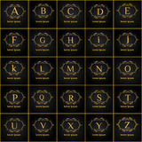 Luxury vintage letters of the alphabet  vector logo set. Brand identity for Restaurant, Hotel. Boutique, Fashion store,  Fashion l Royalty Free Stock Image