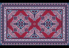 Luxury vintage oriental carpet with claret and different shades of blue on black background royalty free illustration