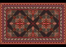 Luxury vintage oriental carpet with red, blue, gray and brown shades on black background. Variegated luxury vintage oriental carpet with red, blue, gray and royalty free illustration