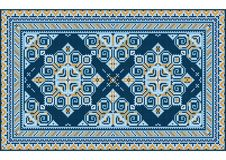 Luxury vintage oriental carpet with yellow and different shades of blue on white background vector illustration