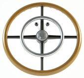 Luxury vintage steering wheel made of wood. On a white background 3d illustration Stock Photography