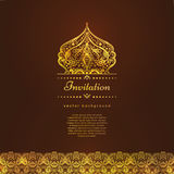A luxury vintage vector card. Invitation with beautiful golden ornaments , lace border frame. Gold royal template Royalty Free Stock Photos