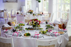 Luxury, vintage wedding reception catering on white table with f Royalty Free Stock Photo