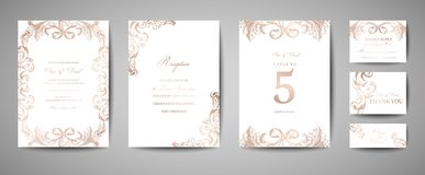 Luxury Vintage Wedding Save the Date, Invitation Cards Collection with Gold Foil Frame and Wreath. trendy cover, graphic. Luxury Vintage Wedding Save the Date stock illustration