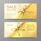 Luxury voucher card. Golden ribbon certificate, elegant celebration coupon, discount promotion flyer. Realistic vector vector illustration