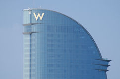 Luxury W Hotel building in Barcelona against a clear blue sky, S Royalty Free Stock Photos