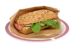 Luxury Waldkorn bread roast beef and tzatziki. Royalty Free Stock Images