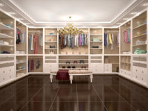 Luxury wardrobe in modern style. 3d illustration Royalty Free Stock Photos