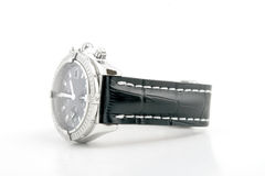 Luxury watch black leather and white gold. Luxury watch, black leather and white gold Royalty Free Stock Photography