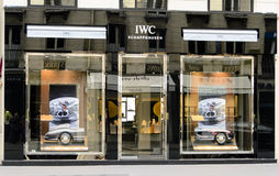 Luxury Watch IWC. In the shopping streets of paris shops of luxury. IWC is a famous brand all over the world and is well represented by the Paris boutique Stock Photo