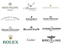 Luxury Watches Brand Logos Royalty Free Stock Photography