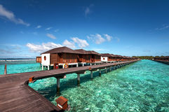 Luxury water villas of the Maldivian resort Royalty Free Stock Image