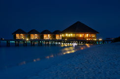 Luxury water villas at Meerufenfushi island , Maldives Royalty Free Stock Images