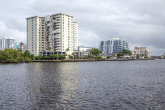 Luxury waterfront apartments Royalty Free Stock Images